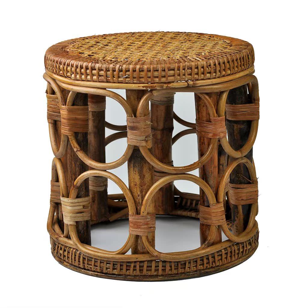 传统手工清吧圆椅手工藤编园凳子凳子儿童矮凳复古老式圆椅藤椅子