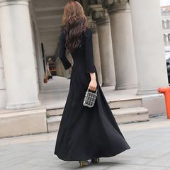 春装长袖连衣裙女2019新款过膝长款显瘦赫本风针织长裙气质小黑裙