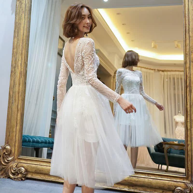 婚纱礼服2018新款新娘结婚旅拍公主显瘦森系轻婚纱梦幻短款简约女
