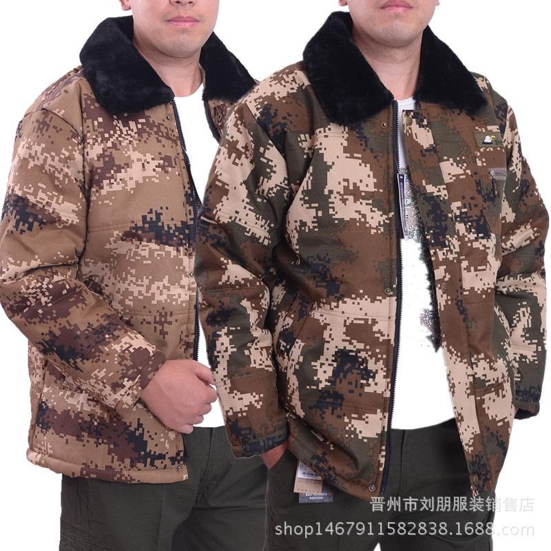 冬季男士防寒荒漠迷彩棉袄劳保棉服迷彩上衣大衣工作服加厚棉服
