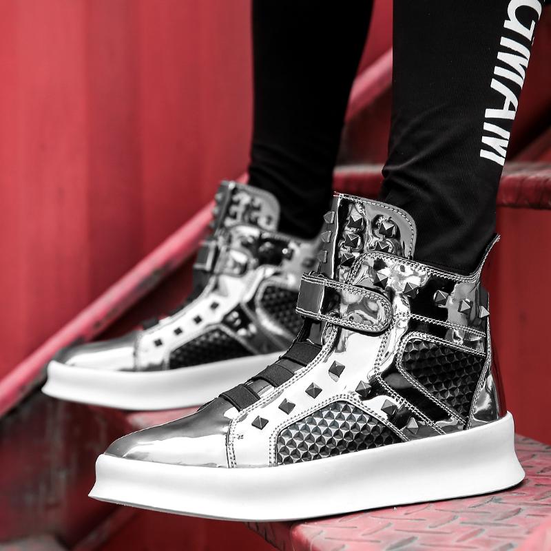 欧美铆钉高帮鞋系带内增高男鞋发型师个性时尚金属潮鞋高邦板鞋子