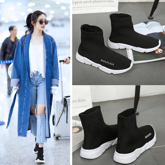 Elastic socks shoes female summer knitting Korean version ulzzang casual sports 2018 new Harajuku wild ugly shoes