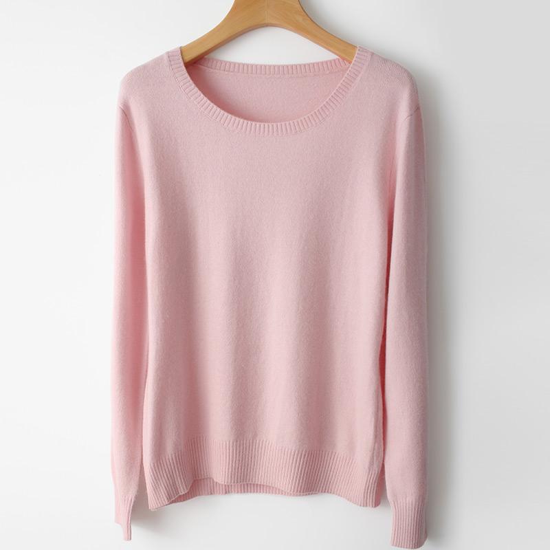 贵丽馨柔春秋套头长袖打底毛衣风情通勤女针织衫短款修身圆领毛衣