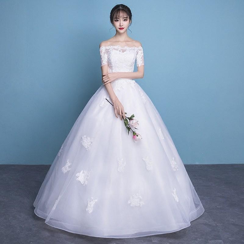 修身肩2018一字短款矮150cm小个子新娘 新款显高齐地公主婚纱礼服
