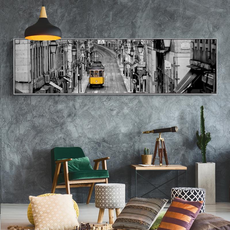 金色梦呓现代简约客厅装饰画卧室床头壁画横版工业风挂画黑白墙画图片