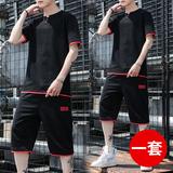 2019新款夏季男士韩版潮流宽松夏装潮牌t恤短袖休闲短裤运动套装
