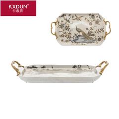 KXDUN/卡希盾欧式陶瓷镶铜果盘摆件孔雀描金配铜托盘工艺品yy0619