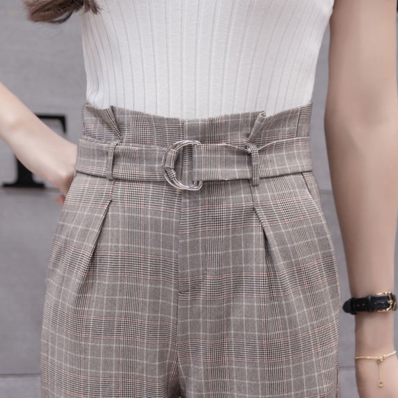 Autumn loose 2018 new flower trousers women high waist feet nine points Korean version of the retro thin section Harlan plaid pants