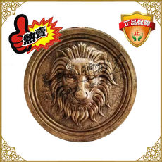 Imitation copper spray round lion head sandstone sculpture fountain landscape garden background wall hanging spit water lion head