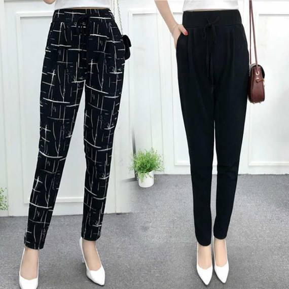 Harlan pants female 2018 new loose nine points summer thin section black wild casual beach spring and autumn wide leg pants women