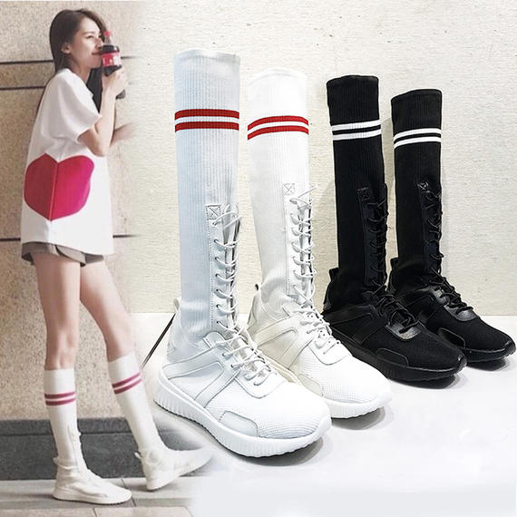 Ins super fire socks shoes high shoes casual long tube socks boots female college wind autumn sports shoes flat shoes