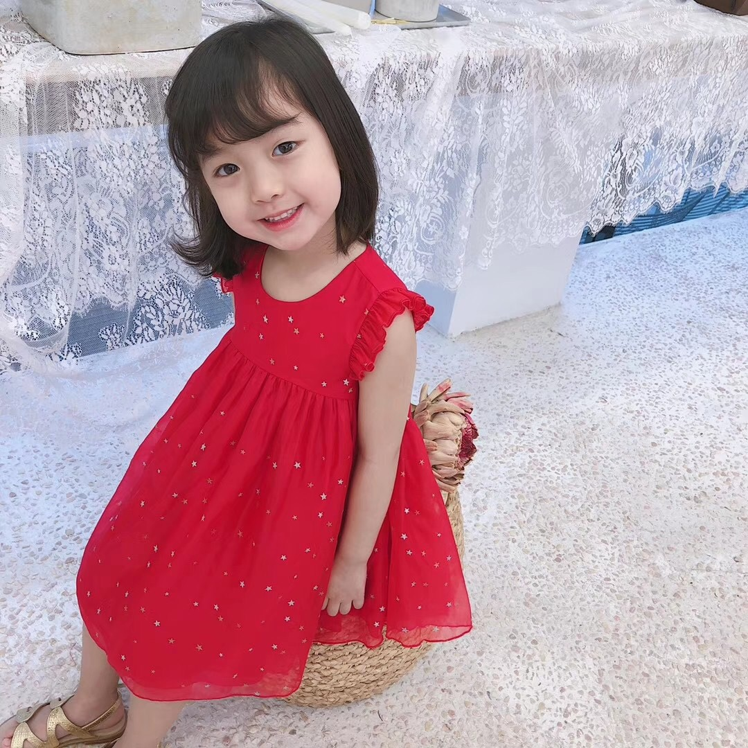 查看淘宝19年春夏新款 女儿童宝宝星星印花连衣裙 气质仙女公主裙子