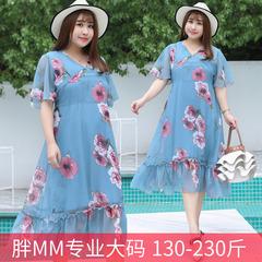 胖夫人M衣服饰可穿的220斤特大尺码版型加肥加大码女装雪纺连衣裙