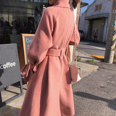 Pink double-faced cashmere coat female Slim long 2018 autumn and winter double-sided 昵 100% wool coat coat