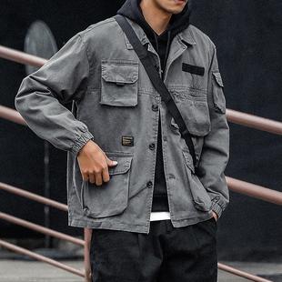 秋装新款日系水洗复古工装风夹克衫男装多口袋休闲帆布外套男