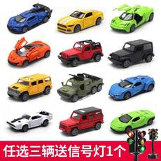 Children's toy alloy car pull back with sound and light sports car off-road jeep model simulation open door car boy