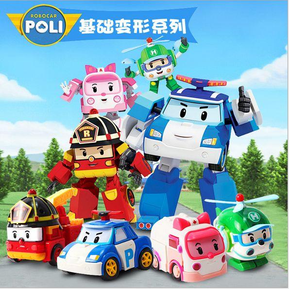 正版银辉poli变形警车珀利警长机器人套装海利安巴罗伊消防车玩具
