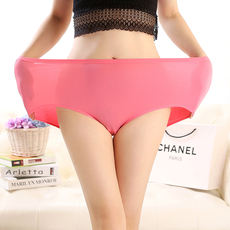 Female fat MM200 pound mother high waist plus fertilizer XL solid triangle underwear modal cotton trousers