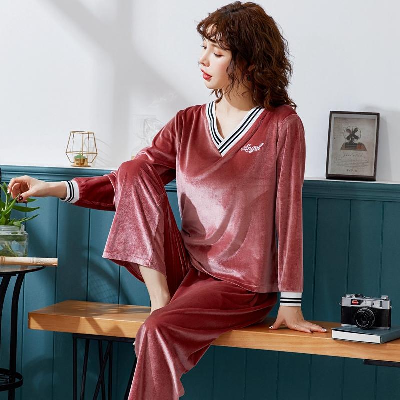 金丝绒睡衣女春秋长袖韩版学生薄绒休闲大码家居服两件套装秋冬季