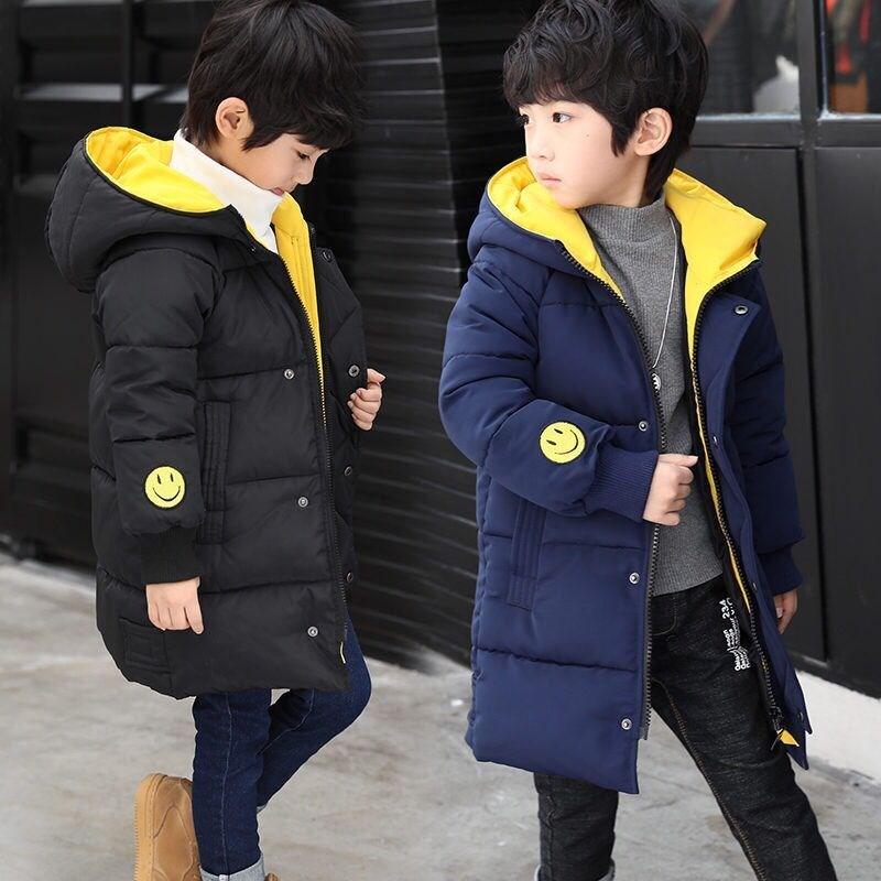5冬季男大童冬装棉衣外套8儿童笑脸10加厚棉服12小学生13男孩15岁