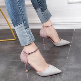 2018春夏水钻尖头浅口一字扣带亮片细跟高跟鞋女性感中空时尚单鞋