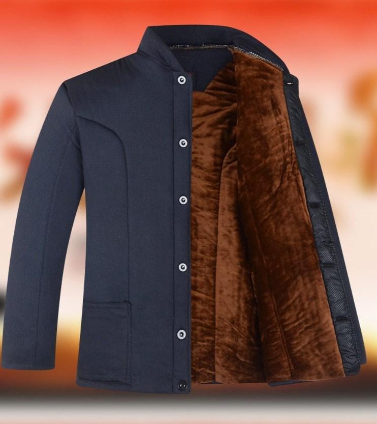 包邮中老年男士驼绒棉袄加绒加厚宽松版有弹力保暖驼绒棉袄冬装