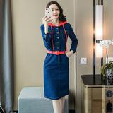 2018秋季新款女装时尚单排扣翻领长袖拼色显瘦连帽牛仔连衣裙S-XL