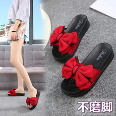 Slipper female summer fashion wild wear 2018 new flat bottom bow simple sandals and slippers beach word flip flops