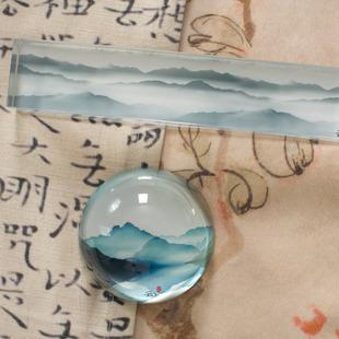 中式花鸟水墨镇纸镇尺公司文化礼品定制半球人造水晶纸镇摆件