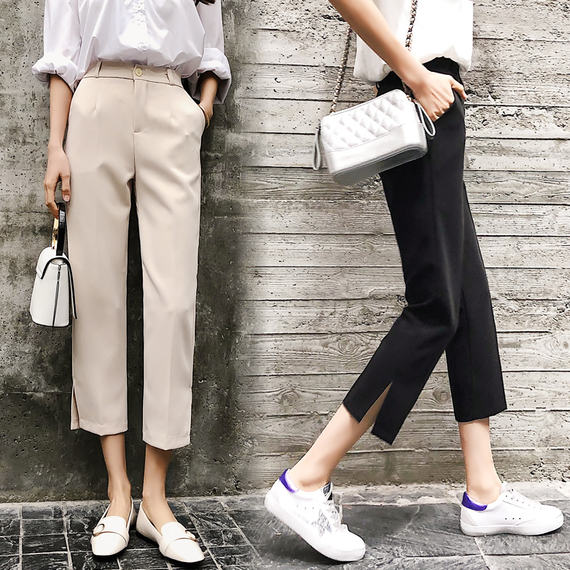 Wide leg pants female cropped trousers 2018 summer thin section casual Korean version of high waist harem pants loose straight suit pants