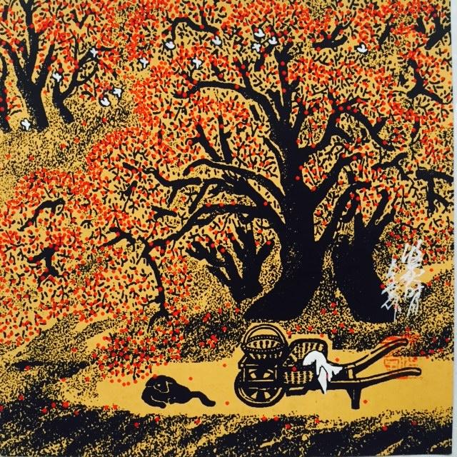 包邮 小院 曹全堂风景人物水粉国画户县农民画民俗宾馆酒店装饰画