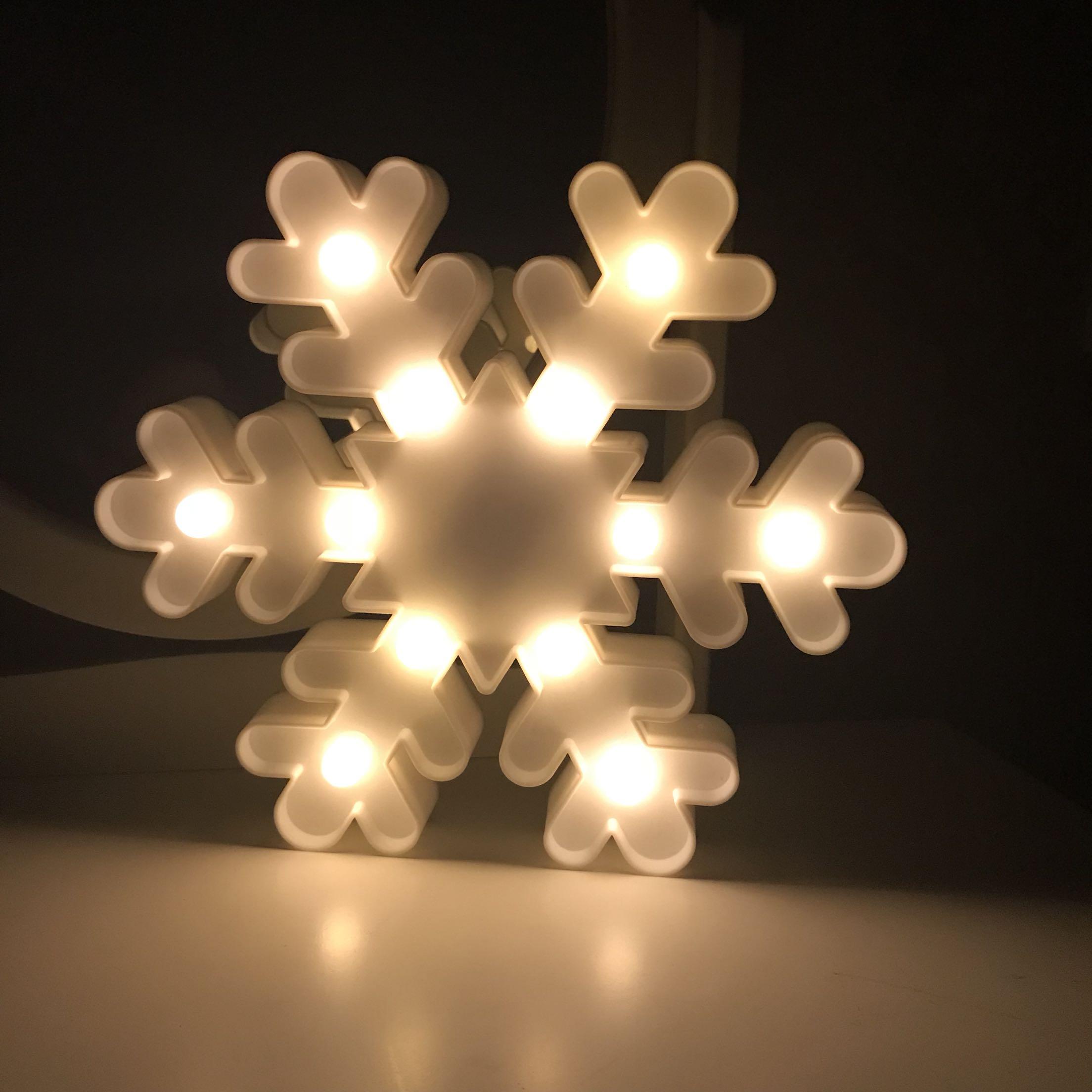 led雪花造型灯圣诞节日礼物ins摆拍字母月亮星星云朵小夜灯装饰品图片