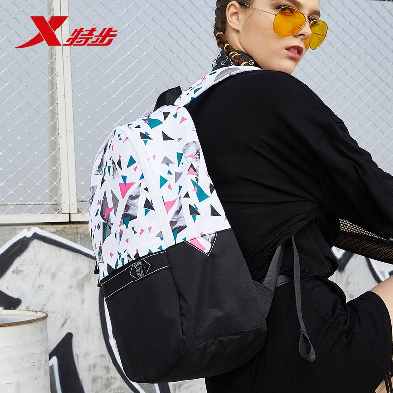 特步双肩包男女通用背包2019夏季新款拼接撞色韩版书包旅行包