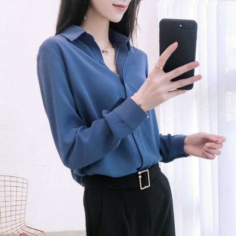 职业打底雪纺白衬衫女韩版长袖休闲百搭衬衣2019新款春季上衣女装