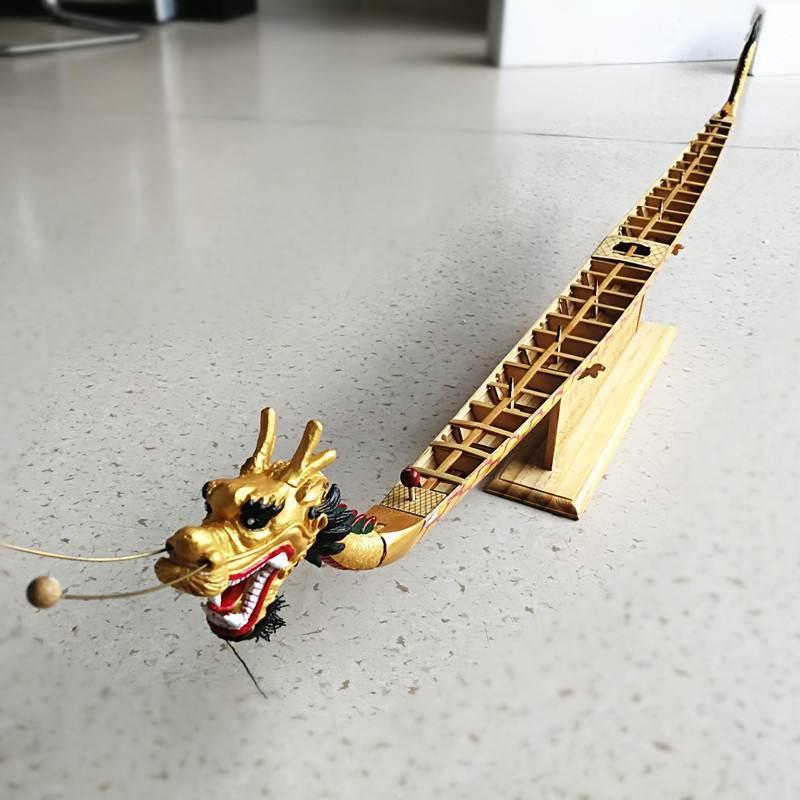 传统木质龙舟模型 赛龙船 龙舟摆件 传统文化手工制作工艺品礼物