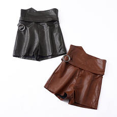 H@31 Autumn new high waist solid color loose slim PU leather women's casual pants Korean fashion wild leather pants