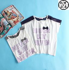 K46-402 Europe and America single girl children's clothing letter pattern bow mesh Korean version of the cute T-shirt