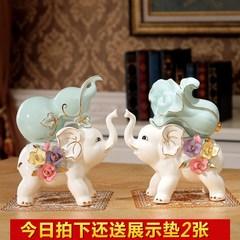 客厅陶瓷大象招财摆件家居房间摆设品小创意屏风电视柜酒柜装饰品