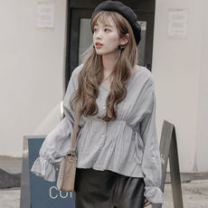 ALN Lin class college wind with cotton and linen shirt female long sleeve 2018 early autumn new design sense minority shirt