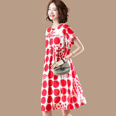 Sumu original large size hit color printing lace dress female summer red small wave point A word skirt X4820