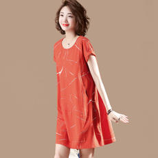 Sumu printing stitching round neck dress female summer short-sleeved sleeve loose loose MM large size A skirt female X4845