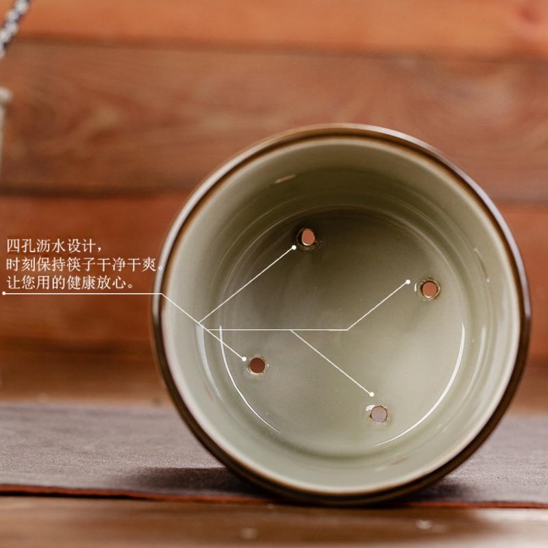 2SQT茗轩茶舍 釉下彩筷子筒 日式单座沥水 陶瓷底座创意筷子笼接