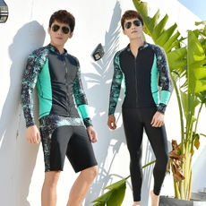 2018 new men's and teens swimwear suit split long-sleeved trousers five pants pants sunscreen quick-drying wetsuit