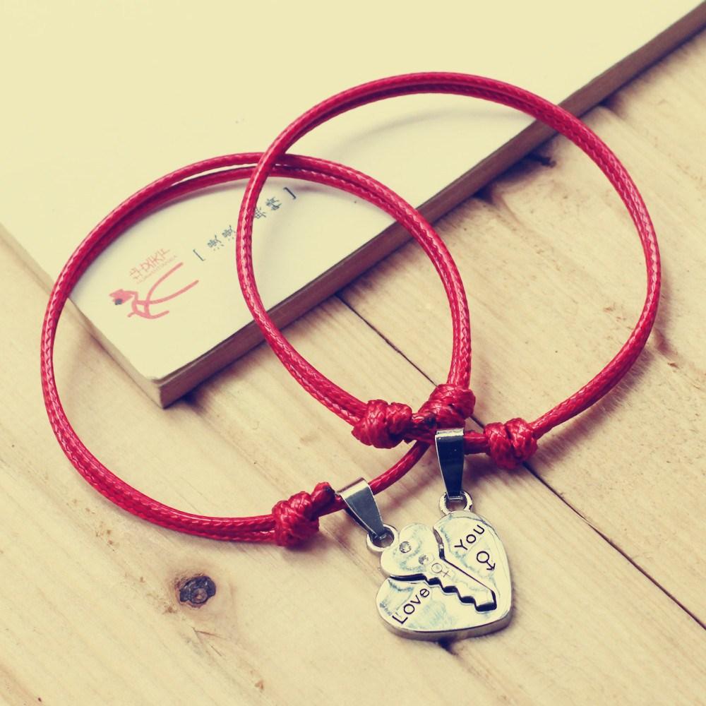 男女情侣手链日韩款一对时尚百搭手绳学生简约锁钥匙爱心复古首饰