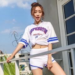 韩国泳衣女性感保守聚拢显瘦三件套分体长款遮腿小香风温泉游泳装