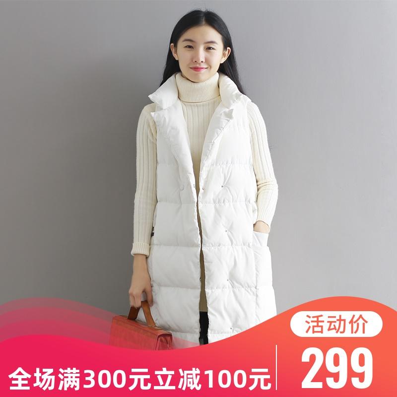 2019新款冬季羽绒马甲女中长款韩版显瘦百搭宽松白鸭绒加厚外套潮