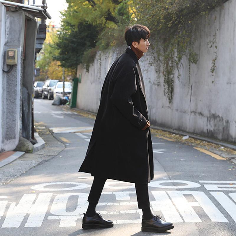大衣韩版长款呢大衣呢子外套潮男宽松毛呢大衣简约男士