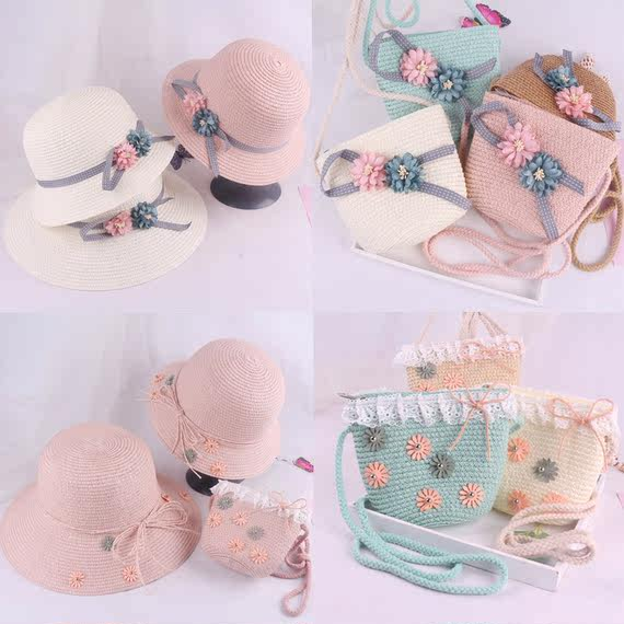 2018 new summer children's straw hat parent-child girl small bag set female baby fisherman hat big visor