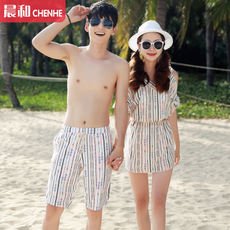 2018 new couple swimwear female three-piece small chest gather split bikini was thin cover belly hot spring beach