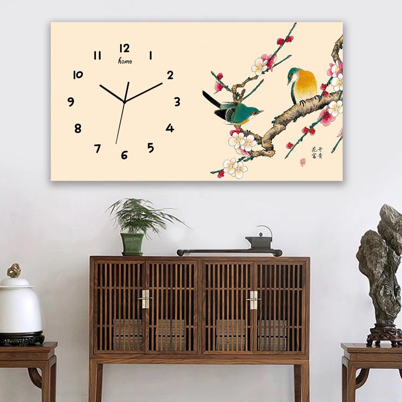 新中式现代简约北欧个性艺术长方形挂钟表挂表客厅餐厅遮电表挂画